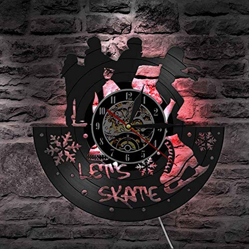 Let's Skate Freestyle Skate Club Decor Reloj de pared para patinaje vintage de vinilo discográfico de pared Skate Party Reloj silencioso sin tictac, luces LED
