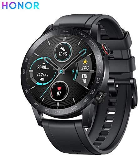 Honor Watch 55023302 - Reloj diseño clásico con Pantalla AMOLED de 3 cm, Moonlight Silver/Brown