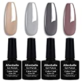 Allenbelle Smalto Semipermante Per Unghie Kit In Gel Uv Led Smalti Semipermanenti Per Unghie Nail Polish UV LED Gel Unghie(Kit di 4 pcs 7.3ML/pc) (012)