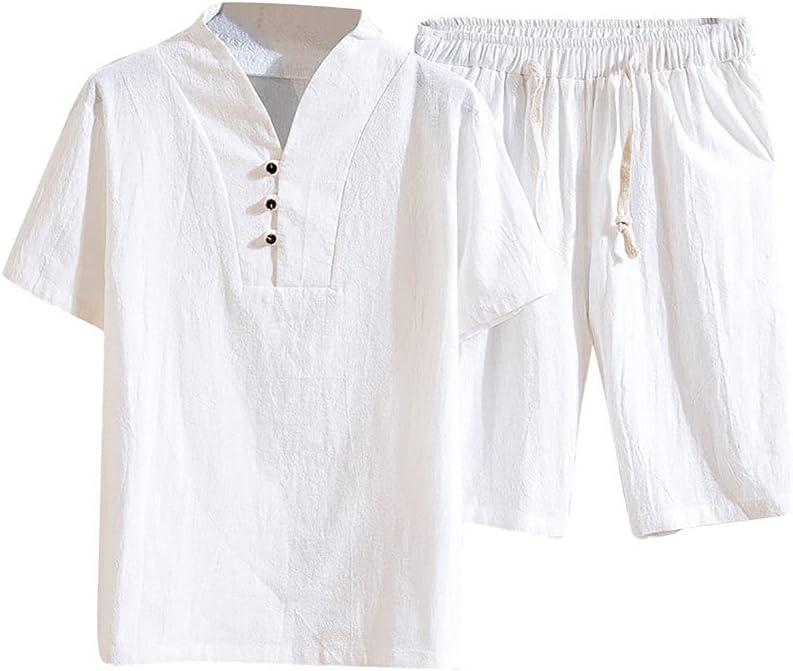 PDGJG Men's Cotton Linen Set Short-sleeved Color Long Beach Mall Max 74% OFF T- Solid