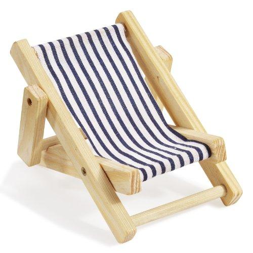 Deko-Liegestuhl aus Holz, blau/weiß, ca. 10cm