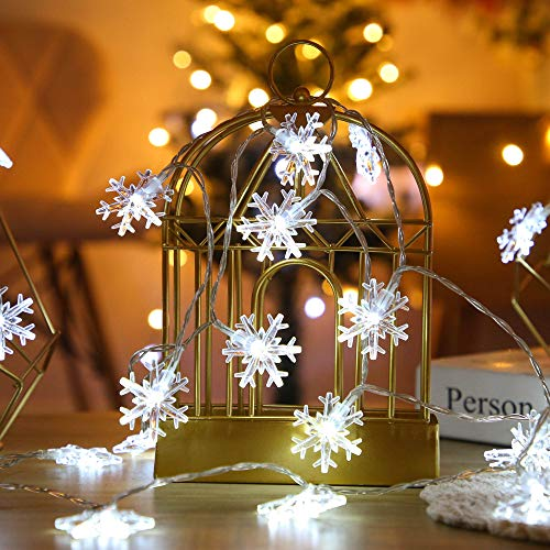VTARCZA 40 LED Weihnachtsbeleuchtung Schneeflocke Lichterkette Hängende Lichter Dekorative Lichterkette für Indoor und Outdoor für Weihnachtsbaum Party Schlafzimmer, Konstanter & blinkender Modus, 5M