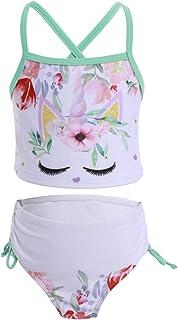 IBTOM CASTLE Girls Unicorn Two Piece Tankini Set Swimsuit Princess Swimwear Bathing Suit Hawaii Beach Sport Halter Bikini