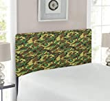 Ambesonne Camo Headboard, Woodland Camouflage Pattern Abstract Concealment Hiding in Jungle, Upholstered Decorative Metal Bed Headboard with Memory Foam, Twin Size, Green Brown Dark Green