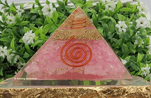 Rose Quartz Orgone Pyramid for Love Vibes, EMF and Negative Energy Protection - Natural Rose Quartz Crystal Pyramid (Copper Healing Coil)