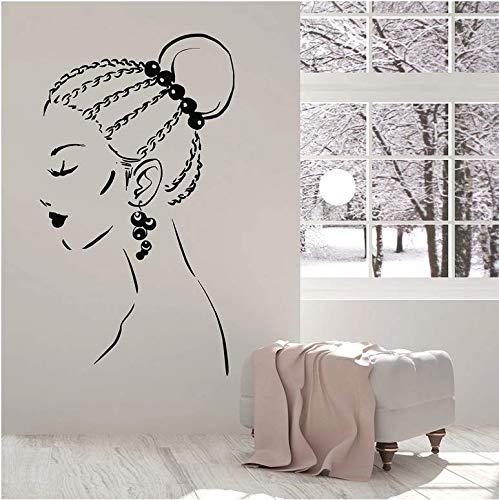 Mooie Meisje Muur Applique gezicht Braid Kapsel Oorbellen Vinyl Window Sticker Schoonheid Salon Meisje Slaapkamer Interieur 57x32cm