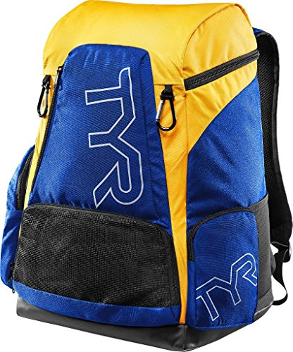 TYR Alliance 45L Backpack - Royal/Gold + Name - Personalised Swimming Backpack