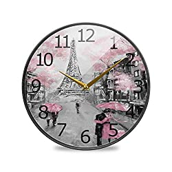 ALAZA Paris Eiffel Tower Couple Pink Floral Acrylic Painted Silent Non-Ticking Round Wall Clock, 9.5 Inch Battery Operated Quiet Desk Clock Home Art Bedroom Living Dorm Room Office School Decor