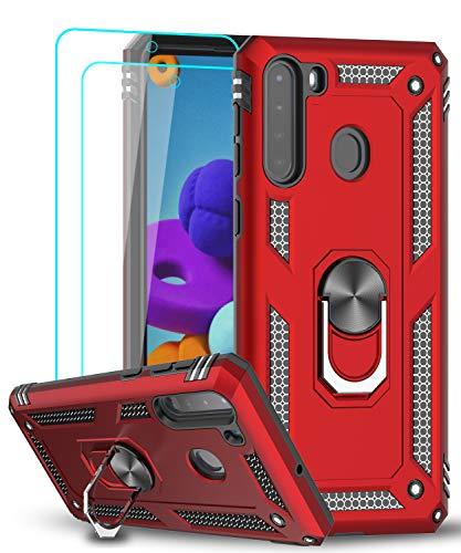 LeYi - Carcasa para Samsung Galaxy A21 (no compatible con A20) con protector de pantalla de cristal templado (2 unidades), color rojo