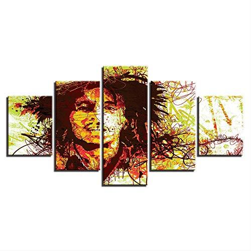 DGGDVP Huiscultuur HD gedrukt canvas modulaire muurkunst poster 5 stuks Trend zanger moderne fotolijst 40x60cmx2,40x80cmx2,40x100cmx1 No Frame
