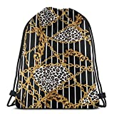 Cadenas en Oro Brocado Piel de Leopardo Bolsa de Gimnasio Mochila con cordón Bolsa de Deporte de poliéster para Hombres Mujeres 36 x 43 cm / 14,2 x 16,9 Pulgadas