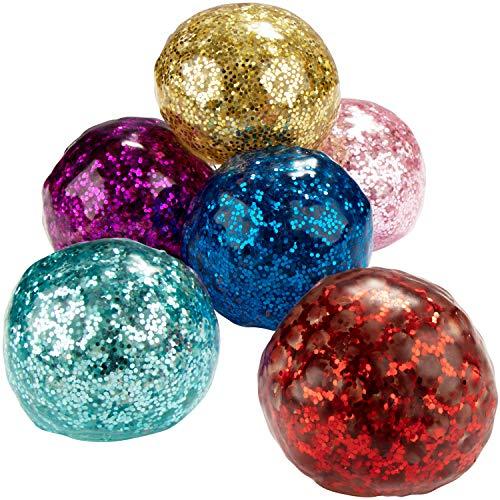 com-four® 6X Anti-Stress-Ball mit Glitzer - Quetschball für Kinder und Erwachsene - Knautsch-Ball [Auswahl variiert] (06 Stück - Ø 5.5cm)