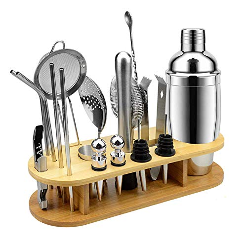 18 Piece Cocktail Shaker Set Bartender Kit with Stand Professional Stainless Steel Bar Tool Set for Drink Mixing,Best Home Cocktail Making Tools Shaker Set (Size : 750ML)