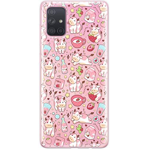 Lex Altern Case Compatible with Samsung Galaxy A72 A71 5G A70 A51 A50 A20 A11 A01 Korean TPU Protective Flexible Pink Silicone Slim Cover Lightweight Kawaii Cow Clear Strawberry Milk Cute phh100