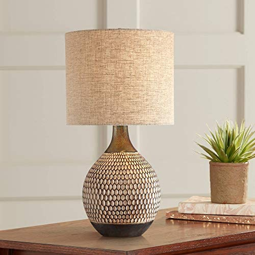 Emma Mid Century Modern Style Accent Table Lamp Brown Textured Wood Ceramic Oatmeal Fabric Drum product image