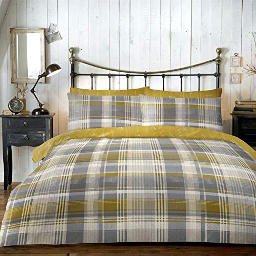 Dreams & Drapes Connolly Check-100% Brushed Cotton, Ochre Yellow, Duvet Cover Set: King