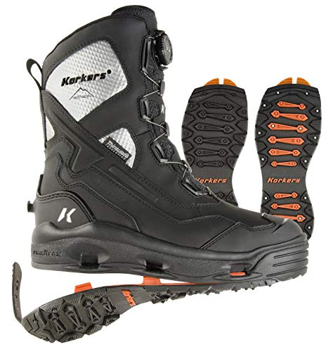 Korkers Men's Polar Vortex 1200 Winter Boots - Insulated and Waterproof - Includes Interchangeable SnowTrac Lug Sole and IceTrac Studded Sole with Carbide Studs - Size 11 Black/Silver