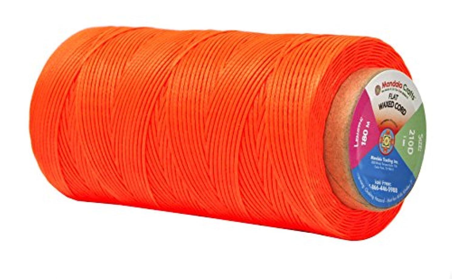 Mandala Crafts 150D 210D 0.8mm 1mm Leather Sewing Stitching Flat Waxed Thread String Cord (210D 1mm 180M, Orange)