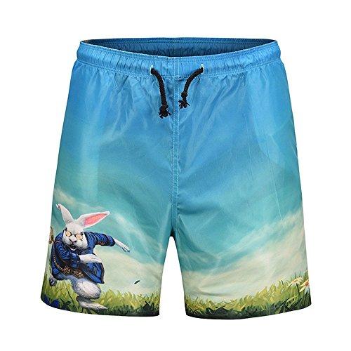 WHLDK Slips De Bain À Séchage Rapide Occasionnels D'Été 2018 L'Impression 3D Confortable Lâche Beach Shorts Bleu XL