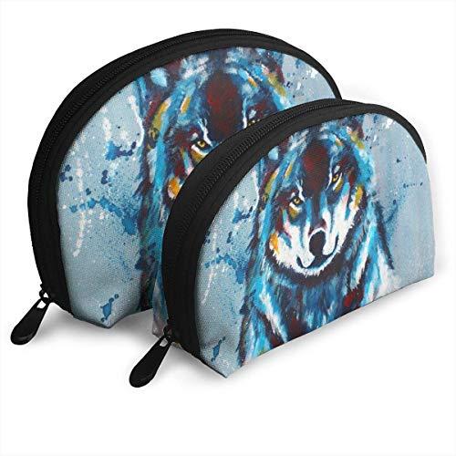 Bleu Peinture Loup Imprimé Voyage Cosmétique De Stockage Assorti Sacs Portables Embrayage Pochette Cadeau 2 Pcs pour Les Femmes