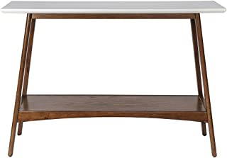 Mid Century Modern Console Sofa Entryway Table in White and Pecan Wood Finish