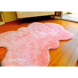 Fur Decors Nursery Room Area Sheepskin Rug Baby Girl Accents Plush Shaggy Handmade