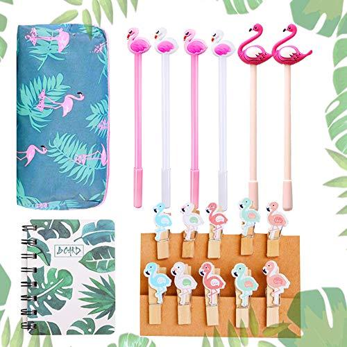 JeVenis 18 PCS Bolígrafos Flamingo Cuaderno Flamingo Clips Flamingo Bolsas para lápices Flamingo Bolsas para Fiesta Oficina Regalo Escolar Regalos para niños Artículos de papelería