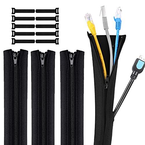 Gozlu Organizador Cables,4 x 50 cm Funda Cubre Cables de Neopreno con...