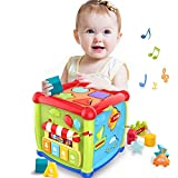 6 in 1 Learning Cube Educational & Learning Activity Toy Including Blocks, Clock, Alphabets-Tree,Transportation Vehicles,Music Keyboard & Mirror for Kids