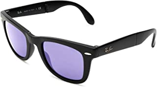 RB4105 Wayfarer Folding Sunglasses, Matte Black/Lilac Mirror, 50 mm