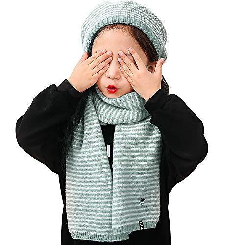 Mega Strickmütze für Mädchen, warm, weich, gestreift, Kaschmir, Baskenmütze,...