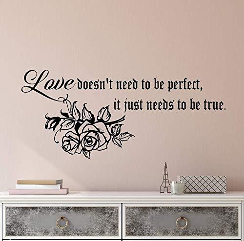 La cita de la etiqueta engomada de la pared anima a las palabras sobre la carta de amor verdadera perfecta decoración del hogar etiqueta de la pared etiqueta de la pared del dormitorio A6 96x42cm