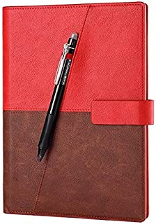 Durable Notebook Leather Smart Reusable Erasable Notebook Microwave Wave Cloud Erase Notepad Note Pad Lined With Pen Office (Color : Red, Size : A5)