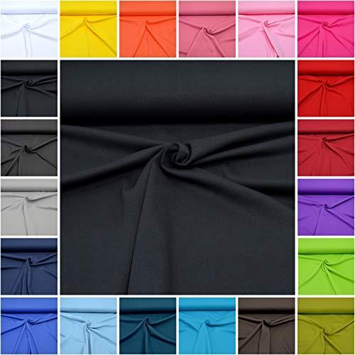 MAGAM-Stoffe Micha Interlock Jersey Uni 100% Baumwolle Oeko-Tex Meterware 50cm (20. Schwarz)