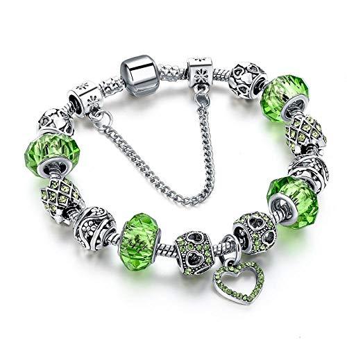 NA Armband SchmuckMode Kristall Herz Charme Armbänder & Armreifen Für Frauen Silber Farbe Charme Pulsera Grün Armbänder Grün
