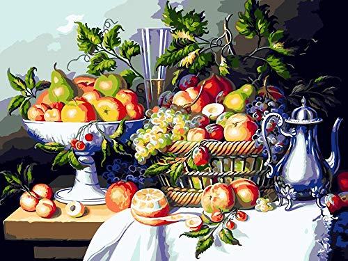 Gbrand Pintar por Numeros Adultos Niños Plato de Frutas DIY Pintura por Números con Pinceles y Pinturas-16 * 20 Pulgadas, Sin Marco