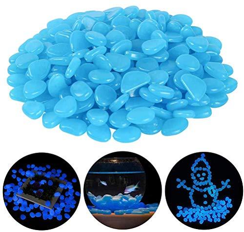 WENTS Leuchtsteine 200 Stück Bunt Leuchtsteine Kieselsteine Leuchtende Kieselsteine Leuchtkiesel Floureszierende Pebble Steine für Aquarium Garten Kinderzimmer Dekor (Blau)
