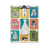 クリップボード A4 結婚式の装飾 子供の贈り物バインダー ビンテージポスタースタイルフレームワークウェディングコレクションドレスケーキ花 A4 タテ型 クリップファイル ワードパッド ファイルバインダー 携帯便利多色
