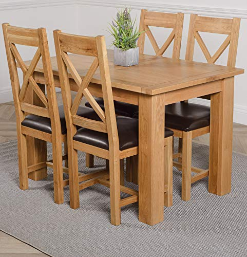 OAK FURNITURE KING Hampton 120cm -160cm Oak Extending Dining Table and 4 Chairs Dining Set with Berkeley Oak & Leather Chairs