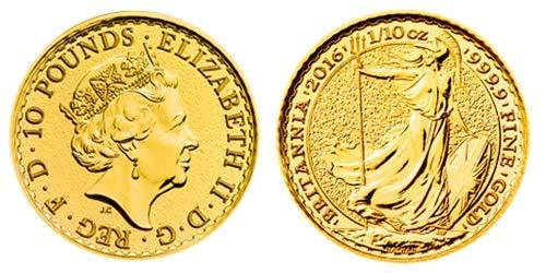 Moneda de oro de Britannia de 1/10 onzas