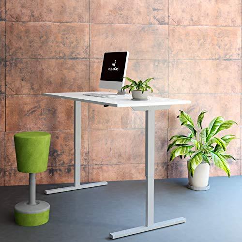 PROFI elektrisch höhenverstellbar Schreibtisch EASY 160x80cm Motortisch LINAK, Gestellfarbe:Silber