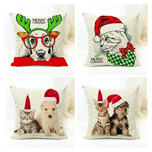whcct Funda de cojín de Animal de Navidad de Cuatro Piezas 45x45cm Sombrero Perro Gato sofá de casa decoración de Lino Funda de Almohada de Oficina