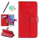 Uposao Kompatibel mit Huawei Honor 5X Handyhülle Tasche Leder Flip Hülle Wallet Schutzhülle Katze Ledertasche Bookstyle Cover Leder Klapphülle Lederhülle Handytasche Kartenfach,Rot