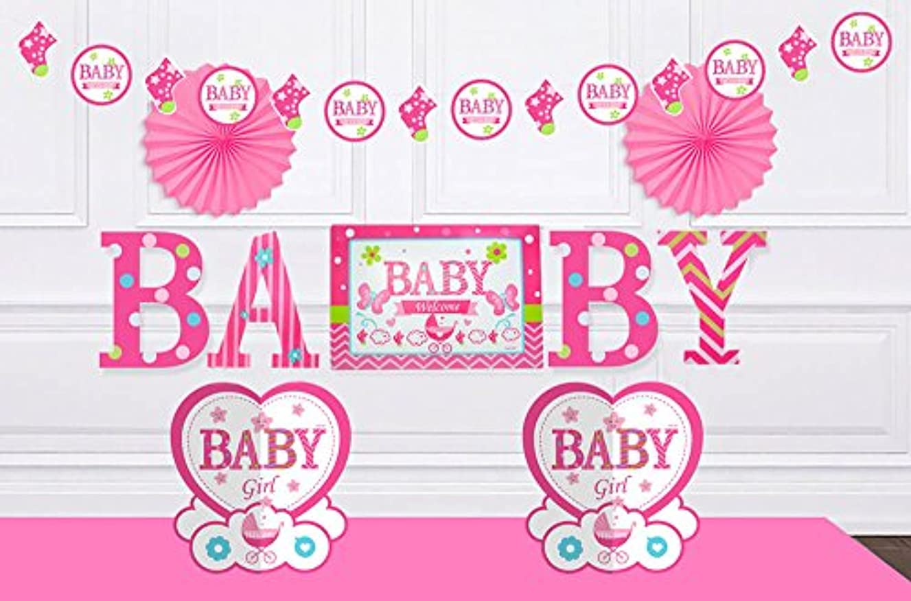 Baby Shower Decorations for Boys or Girls - Newborn Party Decorations | It's a Boy & It's a Girl Garland, Paper Fan Decorations, Table Centerpieces, Baby Wall Stickers | Blue & Pink Options (Pink)