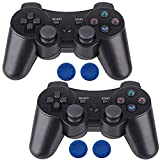 PS3 Controller Wireless,2 Pcs Double Shock Gamepad for Playstation 3, Six-axis Wireless PS3 Joystick with Charging Cable