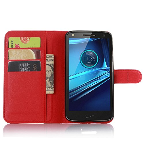 Tasche für Motorola MOTO Droid Turbo 2 Hülle, Ycloud PU Ledertasche Flip Cover Wallet Hülle Handyhülle mit Stand Function Credit Card Slots Bookstyle Purse Design rote