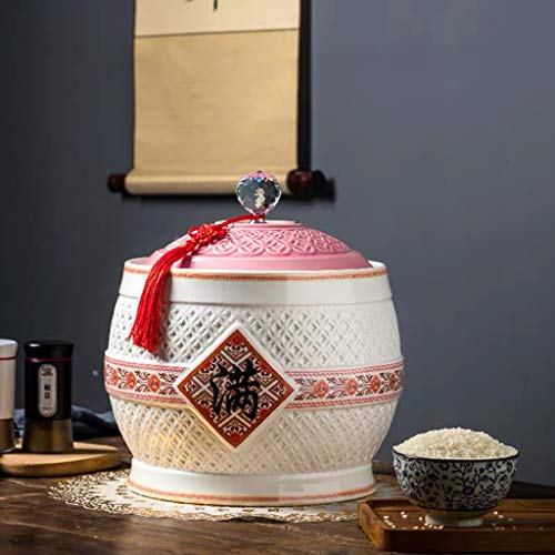 Retro Ceramic Cereal Storage Container Traditional Chinese Porcelain Grain Dispenser Suitable for Cereal, Flour, Sugar, Coffee, Rice, Nuts, Snacks, Pet Food,Tea (Color : D, Size : 3KG/6.6LB)