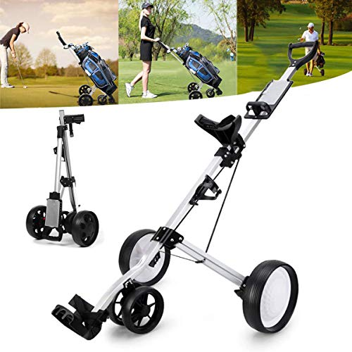 KXDLR Golf Push Cart 4 Wheel Golf Cart Swivel One Second Folding Golf Trolley with Multifunction Scoreboard Push Pull Golf Carts for Golf Clubs Men Women/Kids Practice and Game Golf Accessories