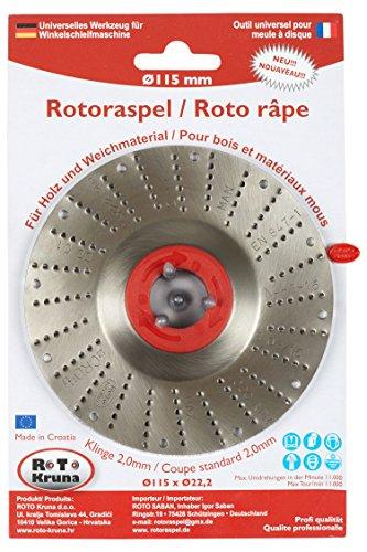 Rotoraspel Ø 115 mm Schleifscheibe Winkelschleifer Holz Kunststoff Gummi (Flexscheibe schleifteller Schruppscheibe schnelles Abschleifen Klinge 2 ; Mittel)