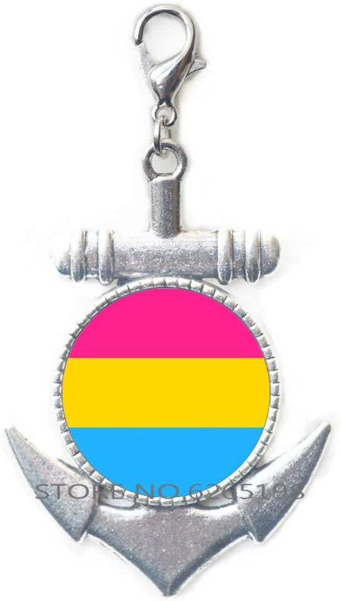 Pansexual Pride Flag Anchor Zipper Alternative dealer Pull Dome Lobster Glass Clasp Cash special price